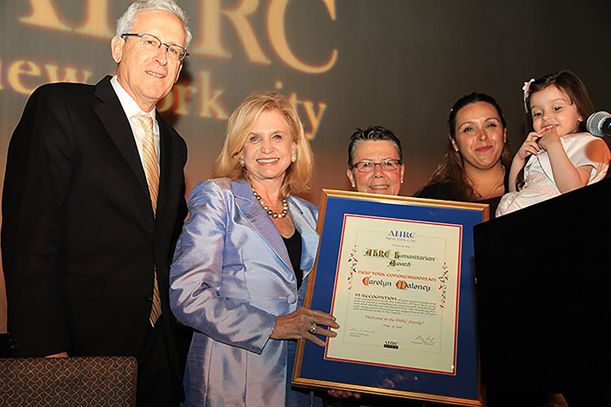 Congresswoman Carolyn B. Maloney, representing the 12th District of New York, receiving the AHRC NYC Humanitarian Award