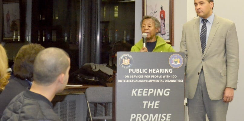 Willie Mae Goodman addresses attendees of the Public Hearing