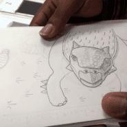 Cory's drawn ankylosaurus, created for his comic book