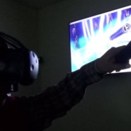 Cory's movements are mirrored by the on screen virtual controller
