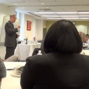 Gary Lind welcomes the Social Work Interns to the luncheon