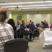 Ray Franzem expresses his gratitude to the Social Work Interns during a celebration hosted at AHRC NYC Headquarters