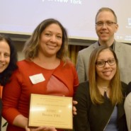 The staff of Bronx TBI accept an award at Baruch College. Left to right: Heather Gazzaley, Associate Director, Adult Day Services; Ana Sostre, Porgram Director, Bronx TBI and Pre-Vocation Services; Janelys Hernandez, Community Support Professional, Bronx TBI; Walter Dickinson, Assistant Director of Group Services, Helen Keller Services for the Blind; and Debiie Lopez, Community Support Supervisor, Bronx TBI