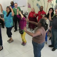 Choreographer, Angie Schworer teaches the performers to dance as they sing