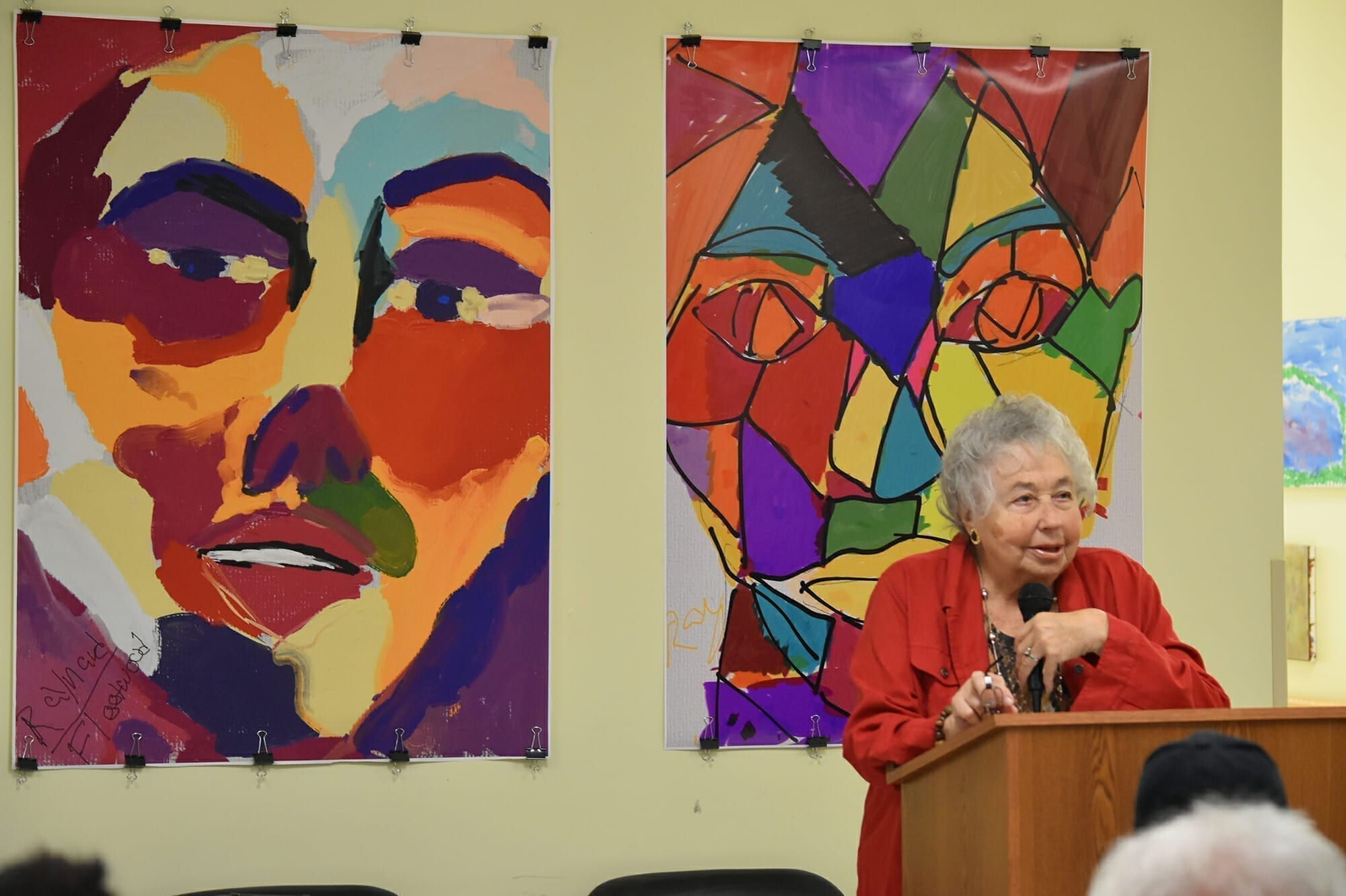 Dorothy Stone speaks to guests of the anniversary event