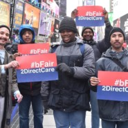 People supported by AHRC NYC's EBS Brooklyn at the Times Square Rally