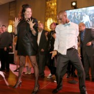 Jenny Gruby Watkins and Jamel Mills dance during a performance of On Broadway