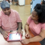 Dale Francis and Marie Delsoin, Community Support Supersvisor, Stephen B. Siegel Adult Day Center