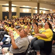 Teachers and family members wore yellow to make it clear that Our Kids Are Your Kids