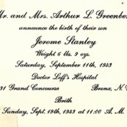 Birth Announcement Jerome Stanley Greenberg