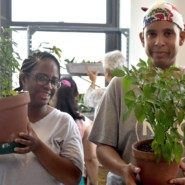 Jasmin Walker and Andres Martinex are a part of New York League's gardening group
