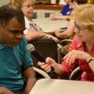 Sandra Rumayor, a book club volunteer, with Martin Neal from Walter and Evelyn Redfield Center
