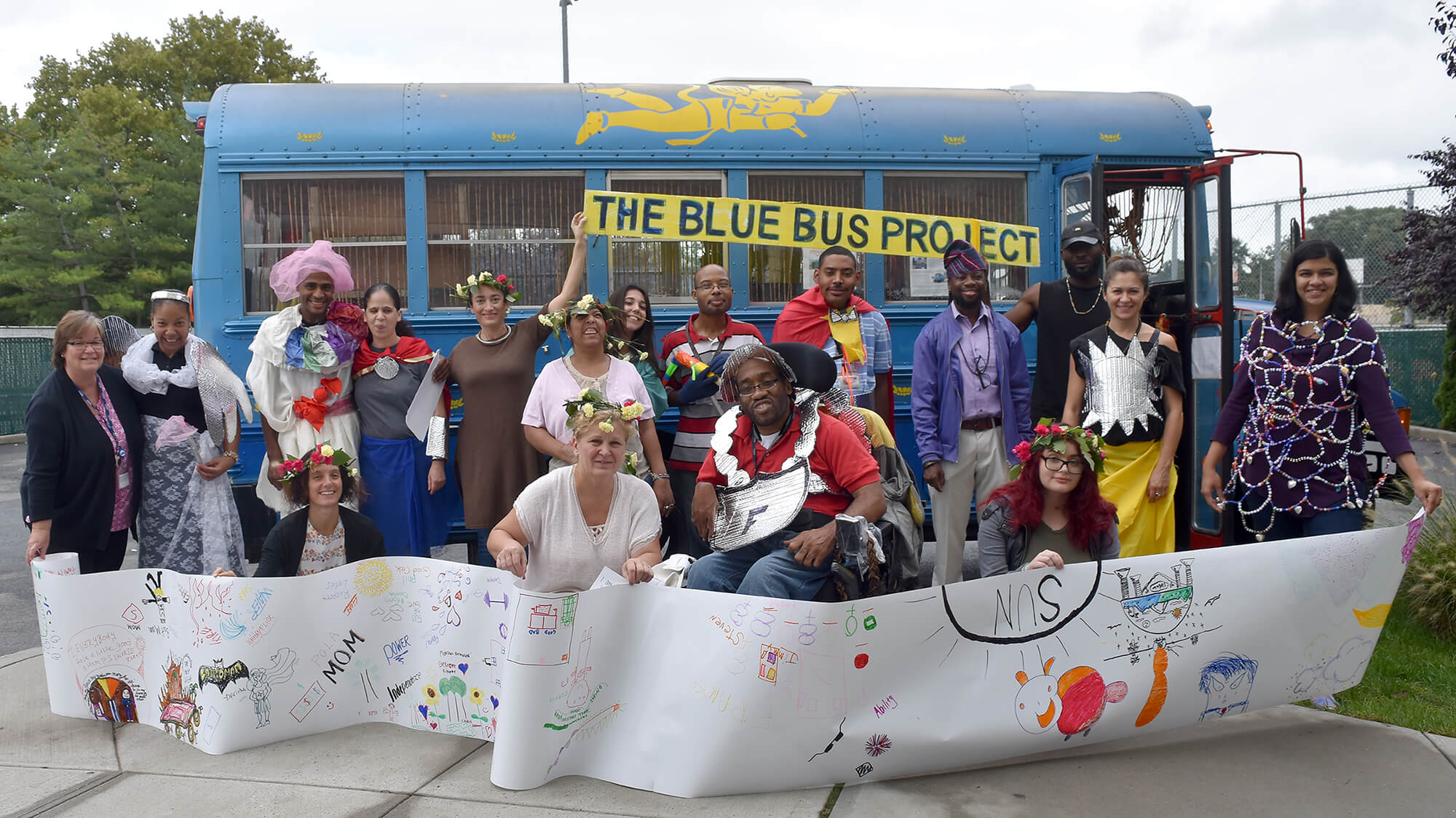 Cohorts in the Blue Bus Project gathered outside of ArTech on their final day together