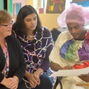 Gail Rivera, Community Support Supervisor at Styyler Center, with Dhanashree Gadiyar, Program Manager at ArTech, and Enrique Viera