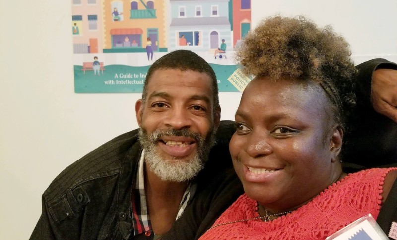 Janice Bartley with her boyfriend at the Center for Urban Pedagogy