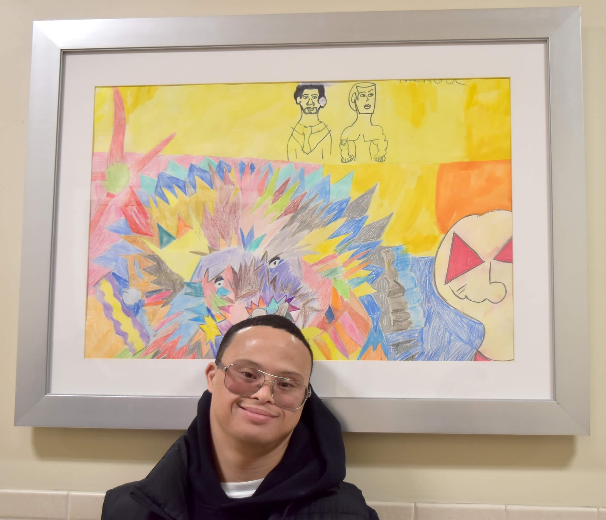 O'Neil Carrasquillo with his piece Untitled
