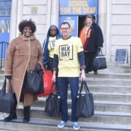 AHRC NYC staff members prepared dozens of bags of food to be deilvered to a shelter in Crown Heights