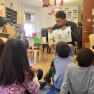 Jerome from MHS encouraged Poly Prep children to react to the book