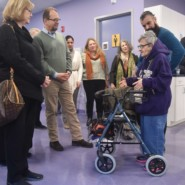 Self advocate Gilda Lindeblatt gretted the Munsons at Walter and Evelyn Redfield Center