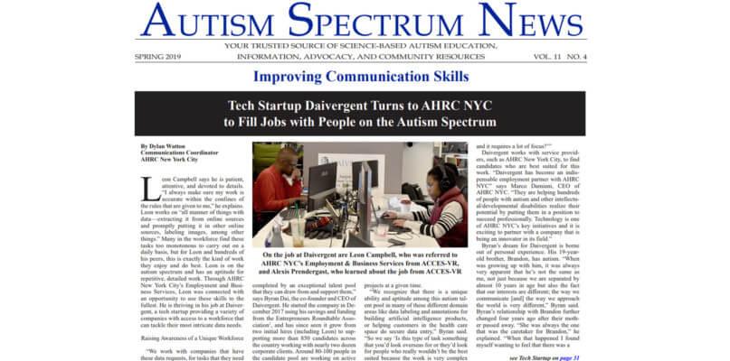 Daivergent article on Autism Spectrum News