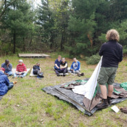 Joe Antcliff, Recreation Supervisor, showed Outdoor Adventure club members some camping basics such as how to pitch a tent and how to tie a proper knot