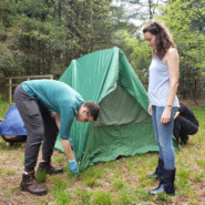 Steven Lakhter and Emily Hurst, Recreation Supervisor, pitch a tent at the first camping trip for the Outdoor Adventure Club