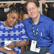 Self advocate and poet Daphne Desinor with Michael Kaplan, Facility Director at Joseph T. Weingold Center