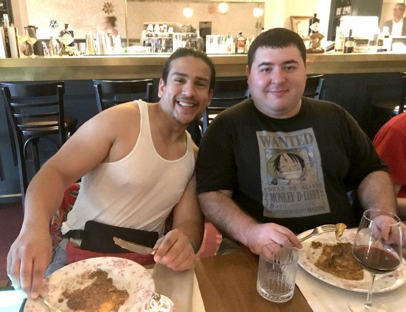 Esteban Gonzalez and James Devine enjoyed some of Italy's famous cuisine