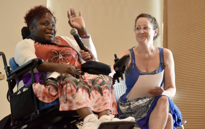 Self advocate Janice Bartley gave the keynote speech at the 2019 SANYS Conference, assisted by Jennifer Teich