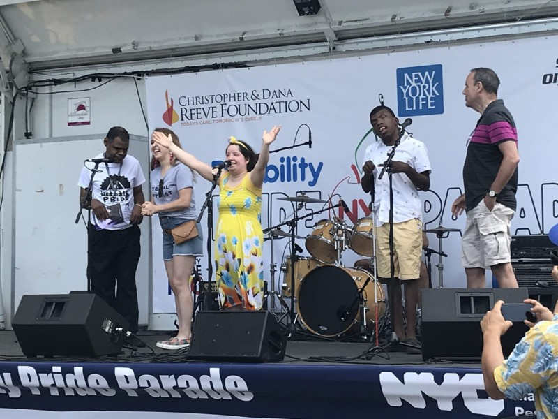 AHRC NYC on Broadway made its debut at the Disability Pride Parade, performing a medley of songs from recent productions.