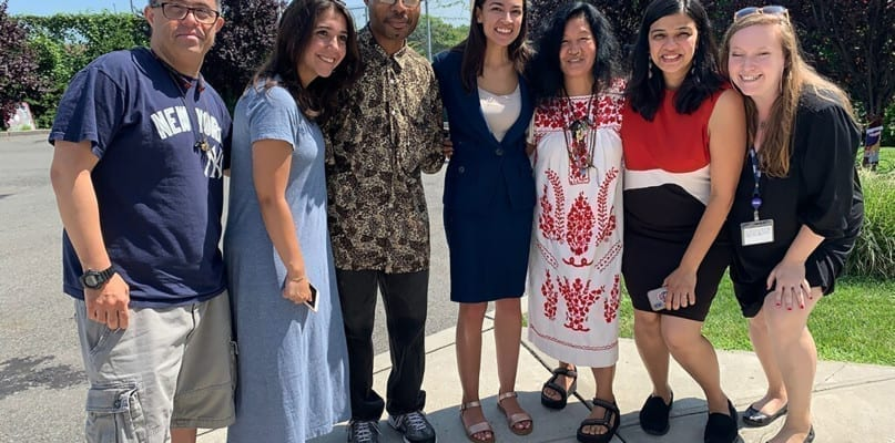 Alexandria Ocasio Cortez with staff members and people supported form Howie Stone Adult Day Center