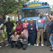 The members of Lyrical Play, the Blue Bus Project's musical collaboration with Far Rockaway Day Center