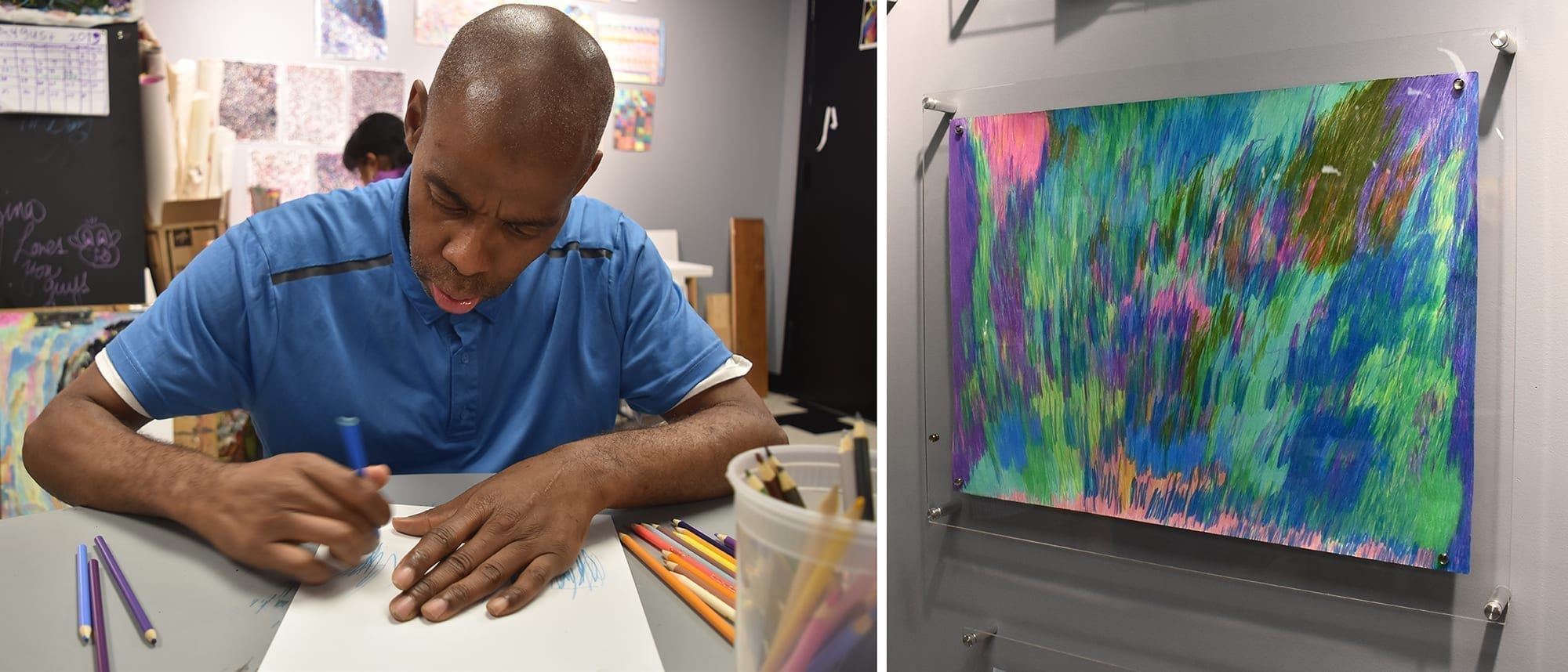 Artist Oswald James begins work on a new abstract drawing