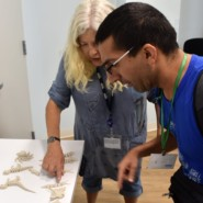 Bonnie Astor, Art Consultant, and Danny Groner looked over 3D printed figurines at Joseph T. Weingold Day Center.