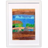 Landscape works by artist, Timotheus Davis, left to right, Blue Flowers,Landscape with Blue House and Little Blue Mountains,Tree on Rainbow Background
