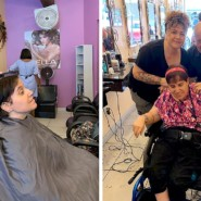 Renee Raineri and family at the salon