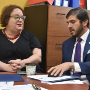 Courtney Case, a member of the school's Parent Teacher Organization, spoke with Senator Andrew Gounardes about how important BBF is to her and her so