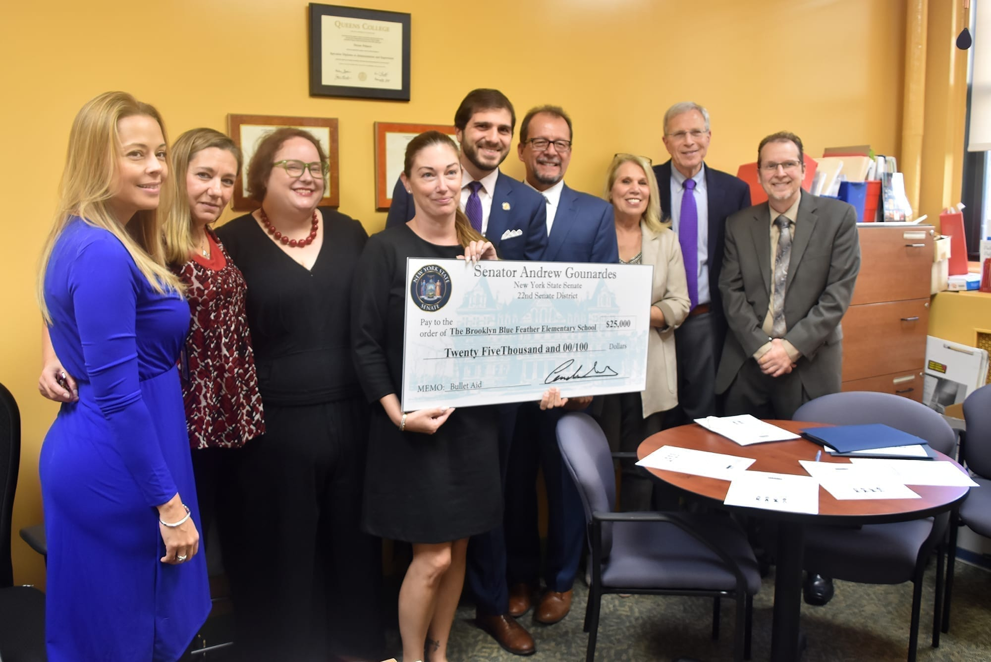 Senator Andrew Gounardes provided $25,000 to Brooklyn Blue Feather after he was inspired by a visit to the school during his campaign