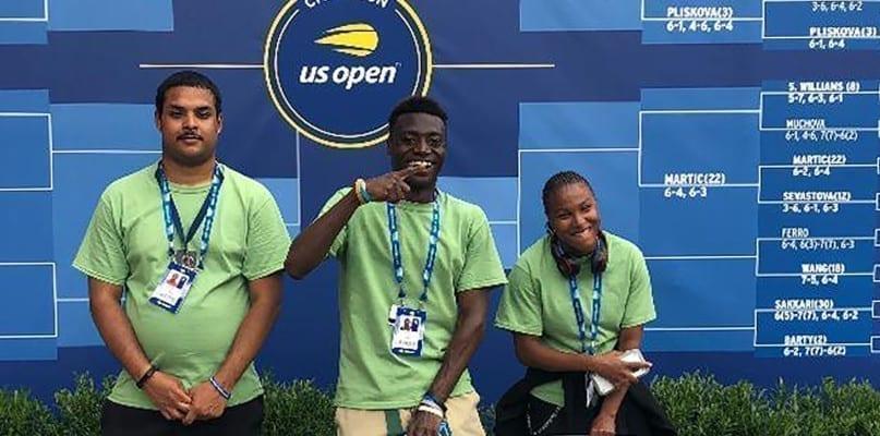 US Open interns Markel Cardona Cruz, Jermaine Larmon, and Tiana Harbour