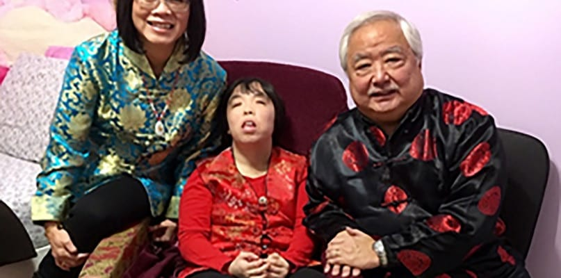 Samantha Cheung with her parents Susan and Peter.