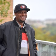 Walter Glasco enjoys the communal outdoor space at Parkside Terrace