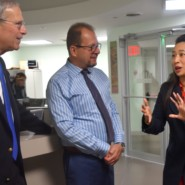 Assemblymember Yuh Line Niou speaks with Marco Damiani and Al Kaplan.