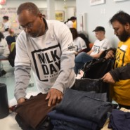 At Joseph T. Weingold Day Center, volunteers from New York Cares organized clothing that was to be distributed to people in need.