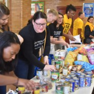 Community volunteers, including some from Williams Sonoma, packaged non perishable food items in Crown Heights.