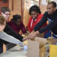 Volunteers form EBS Brooklyn got into the spirit of the MLK Day of Service.