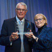 Lou Piniella receives the Thurman Munson Champion Award from Diana Munson