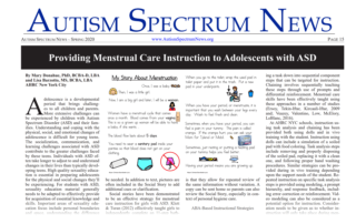 ASN Providing Menstrual Care Instruction to Adolescents with ASD