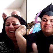 Graduate, Frank Faraino celebrates with his family