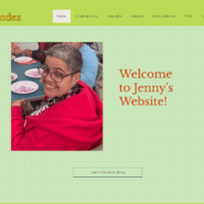 The homepage of jenny Hernandez's new website