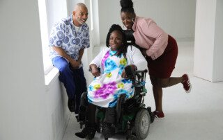 Janice Bartley (center) with Chshone Bailey (left) and Yvonne White, Residential Habilitation Counselor (right).